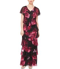 sl fashions floral tiered dress