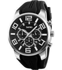 skmei 9128 fashion multifunctional 3d dial grande reloj deportivo