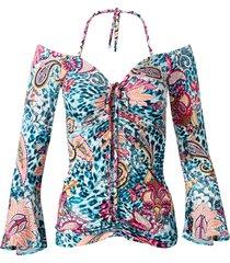 maglia con spalle scoperte e maniche a campana (blu) - bodyflirt boutique