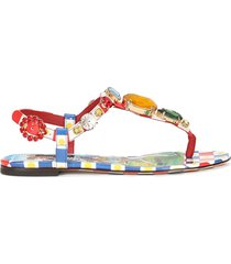 carretto-print patent leather thong sandals with bejeweled appliqué