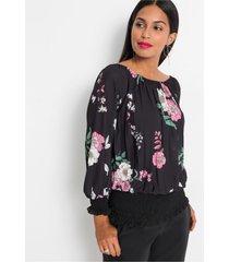 gedessineerde blouse met plissé