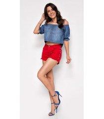 shorts jeans zait hot pants ester - feminino