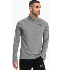 active sweater met korte rits voor heren, grijs/heide, maat s | puma