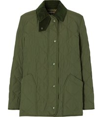 burberry diamond quilted barn jacket - green