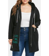 plus size zipper drawstring hoodie
