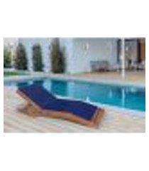 espreguiçadeira verano em madeira estofada desmontável/reclinável - azul