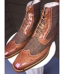handmade wing tip tweed leather boots brogue dress tuxedo formal office boots