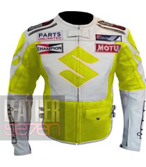 suzuki 4269 fluorescent leather motorcycle motorbike  pure cowhide armour jacket