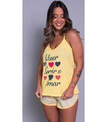 pijama feminino serra e mar modas short doll estampado mostarda - amarelo - feminino - poliã©ster - dafiti