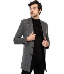 abrigo gris 3/4 bolsillo sesgado