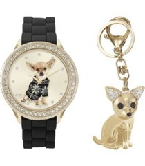 jessica carlyle women's analog dog lovers black metal strap watch 34mm with cubic zirconia crystals chihuahua key chain gift set