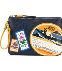 tory burch perry travel patches wristlet - yellow
