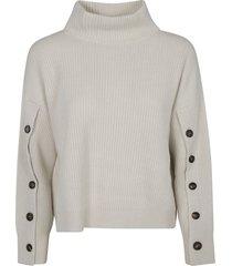 brunello cucinelli buttoned sleeve knit sweater