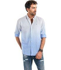 camisa lino franja azul ferouch