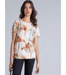blusa manga curta estampada long beach - lez a lez