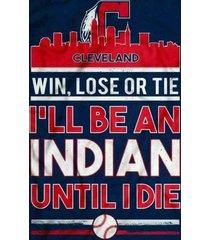 cleveland indians  win,lose,or tie indian fan til i die  2.5 x 3.5 fridge magnet