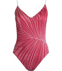 palm leaf graphic & illusion stripe one-piece swimsuit