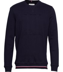 embossed sweatshirt sweat-shirt trui blauw les deux