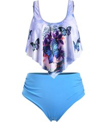 plus size butterfly print high waist tankini swimsuit