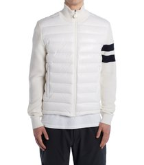 men's moncler quilted down front wool cardigan, size x-large - white