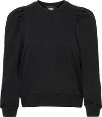 puffy sleeve logo sweatshirt sweat-shirt tröja svart karl lagerfeld