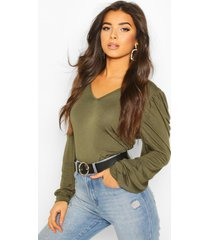 puff sleeve v neck swing top, khaki