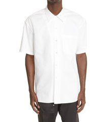 alexander mcqueen punk skull short sleeve button-up shirt, size 15 in white at nordstrom