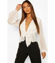 dobby chiffon blouse met strik, white