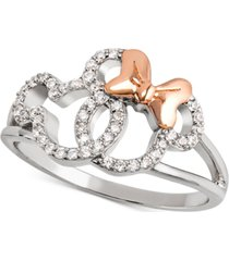 disney cubic zirconia mickey & minnie openwork ring in sterling silver & 18k rose gold-plate