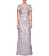 women's la femme embroidered lace column gown