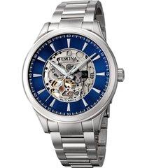 reloj automatico  azul  festina