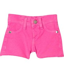 miss blumarine pink denim shorts with embroidered logo