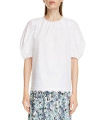 women's erdem lace trim cotton poplin top, size 4 us - white