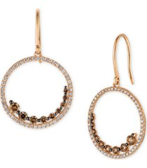 le vian chocolatier chocolate diamond (3/4 ct. t.w.) & vanilla diamond (1/2 ct. t.w.) drop hoop earrings in 14k rose gold