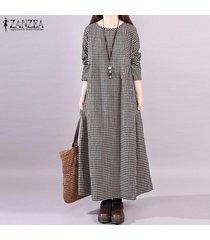zanzea mujer de manga larga a cuadros de época compruebe kaftan caftan la llamarada más el tamaño de vestido de maxi -negro