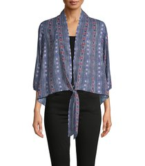 supply & demand women's nala tie-front print top - navy - size xs