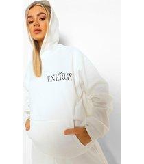 oversized hoodie met tekst, ecru