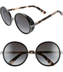 women's jimmy choo andiens 54mm round sunglasses - black