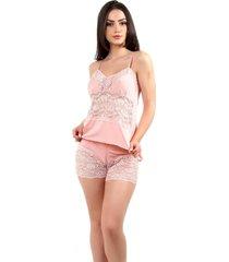 pijama short doll baby doll imi lingerie em microfibra e renda lina ros㪠- rosa/ros㪠- feminino - renda - dafiti
