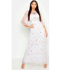 angel sleeve ruffle maxi dress, grey
