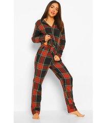 flanelen geruite set met pyjama broek, red