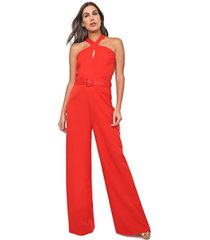 macacã£o frente ãšnica queens paris pantalona trapã©zio vermelho - vermelho - feminino - poliã©ster - dafiti