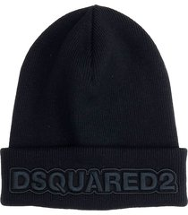 dsquared2 hats in black wool