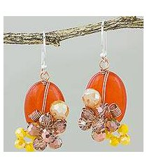 quartz dangle earrings, 'garden bliss in deep orange' (thailand)