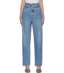 belted paper bag waist vintage mid indigo jeans