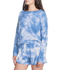 betsey johnson performance women's long sleeve tie dye top - blue - size m