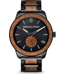 original grain men's sapele wood paired with a black stainless steel bracelet watch 46mm