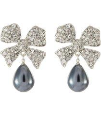 crystal bow drop pearl earrings
