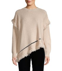 asymmetrical fringe sweater
