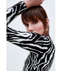 motivi vestito a tubino in maglia zebrata donna nero